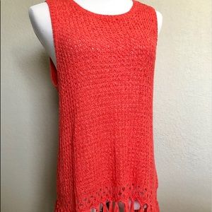 CORAL CROCHET TOP WITH FRINGES